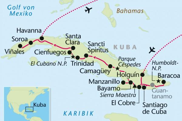 Kuba-Rundreise - Landkarte