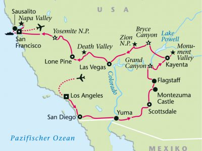 USA-Westen-Rundreise-Landkarte